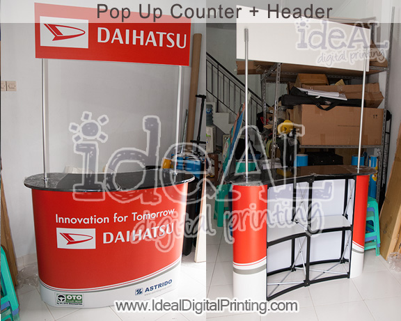 Meja Pop up Counter Custome with Header for Daihatsu